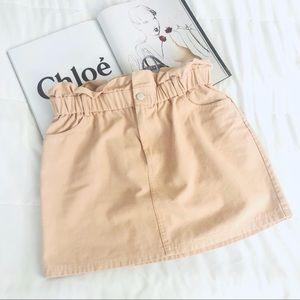 Lulus blush pink paper bag denim skirt size large